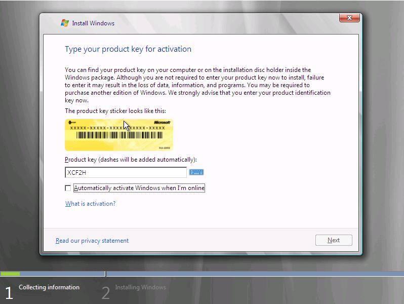 Рис.6.8. . Ввод ключа активации Windows Vista.